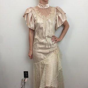 Vintage Dresses - Vintage 1970's Wedding Lace Maxi Victorian Dress